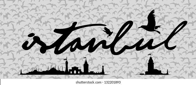 istanbul city retro vector art