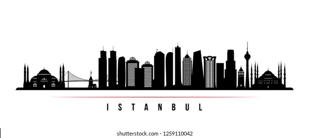 Istanbul city skyline horizontal banner. Black and white silhouette of Istanbul. Vector template for your design.