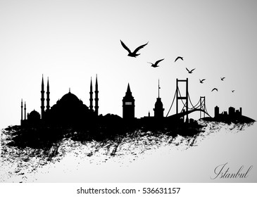 Istanbul City Skyline Vector Illustration.
