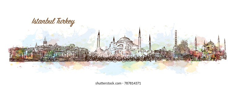 Istanbul City Skyline. Watercolor splash with sketch in vector illustration.