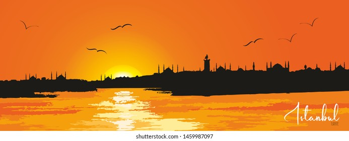 Istanbul city, Turkey. Urban sunset panoramic cityscape. Landmark buildings and mosques silhouette skyline. Travel background