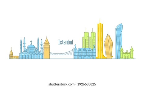 Istanbul cityscape - landmarks and sights of Istanbul in line art