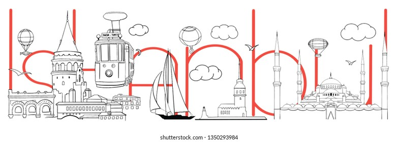 Istanbul doodle silhouette. Vector skyline illustration - clouds, balloons. Collage or city panorama