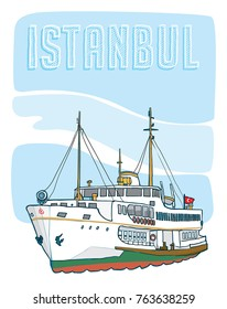 istanbul ferry boat hand drawn illustration