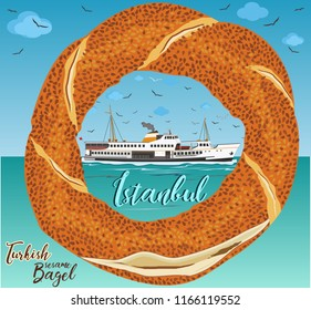 Istanbul Ferry illustration with istanbul silhouette. Traditional Turkish steamboat. Seagulls - Turkish traditional bagel simit. Cartoon vector illustration in flat style. Turkish Sesame Bagel