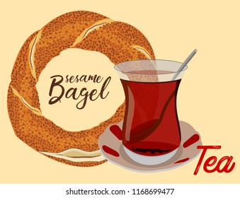 Istanbul Ferry illustration with istanbul silhouette. Traditional Turkish steamboat. Seagulls - Turkish traditional bagel simit. carton vector illustration in flat style. Turkish Sesame Bagel and tea