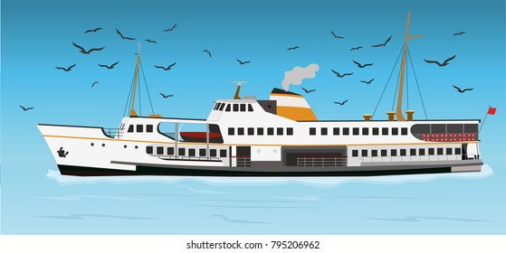 Istanbul Ferry illustration with istanbul silhouette. Traditional Turkish steamboat. Seagulls