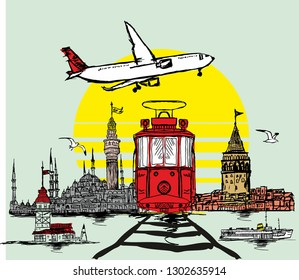 istanbul graphic design vector art, city view