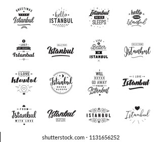 Istanbul. Greeting cards, vector design. Isolated logos. Typography set.