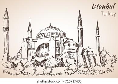 Istanbul Hadia Sophia museum - Ayasofya. Turkey. Sketch. Isolated on white background