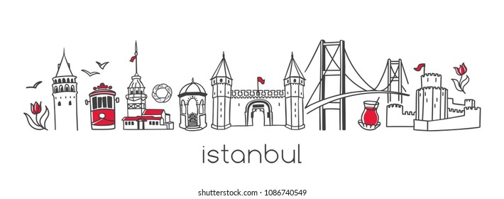 Istanbul. Hand drawn vector illustration of famous turkish landmarks and symbols. Set of doodle outline elements in horizontal panoramic scene. Simple minimalistic style for travel or print design.