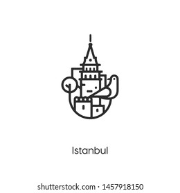 istanbul icon vector. tower symbol. Linear style sign for mobile concept and web design. turkey building symbol illustration. Pixel vector graphics - Vector.