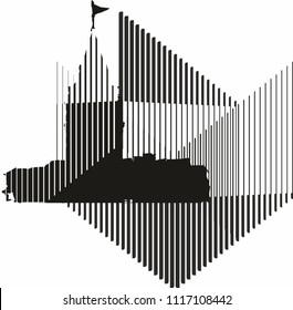 istanbul modern line graphic design vector art