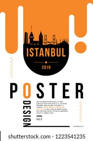Istanbul Modern Web Banner Design with Vector Linear Skyline
