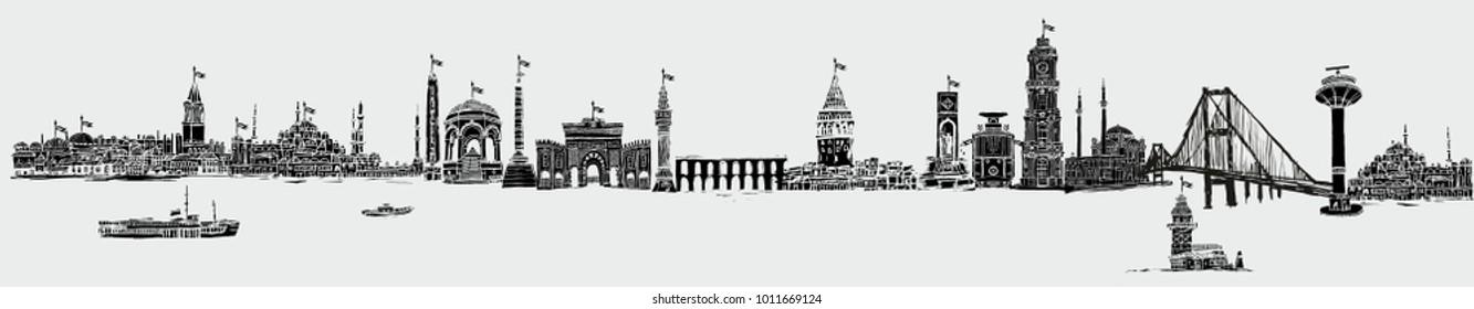 istanbul silhouette graphic design vector art