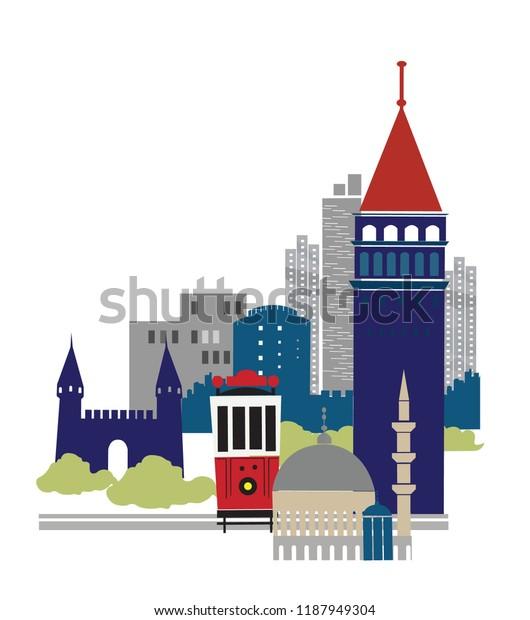 Istanbul silhouette illustration