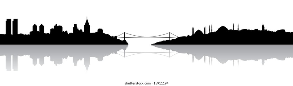 Istanbul silhouette and it's reflection