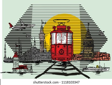 istanbul silhouette vintage and modern mix design vector art