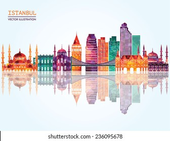 Istanbul skyline detailed silhouette. Vector illustration