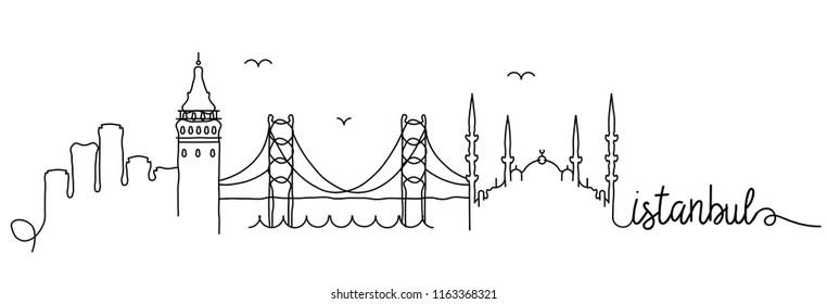 Istanbul Skyline Signature Design