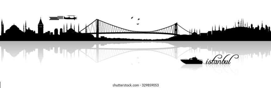 Istanbul skyline silhouette vector design with reflection