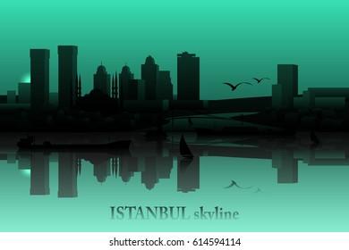 Istanbul skyline vector silhouette.