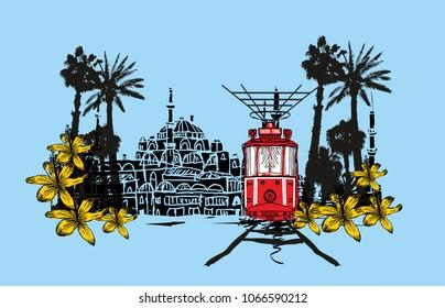 istanbul tram graphic design vector art