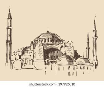 Istanbul, Turkey, city architecture, vintage engraved illustration, hand drawn, sketch