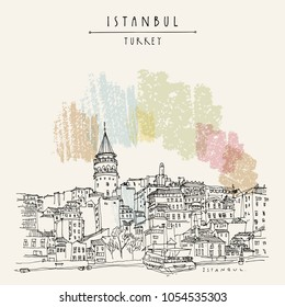 Istanbul, Turkey. Galata tower (Galata Kilesi) and Karakoy district, view from Bosphorus. Travel sketch. Hand drawn vintage touristic postcard. Vector illustration