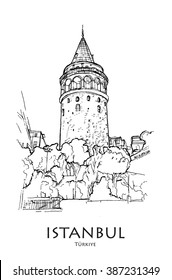 ISTANBUL, TURKEY - Galata tower (Galata Kulesi), hand created sketch. Postcard, poster