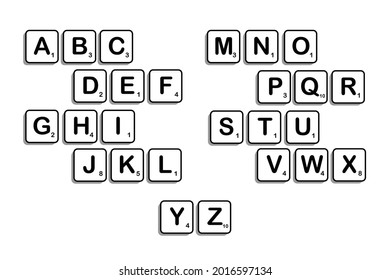 Istanbul, Turkey - July, 2021: Complete Alphabet uppercase in scrabble letters. Isolate vector illustration in white boxes with black outline over white plain background.