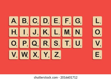 Istanbul, Turkey - July, 2021: Complete Alphabet uppercase in scrabble letters. Isolate vector illustration in beige or wooden color over dark orange background