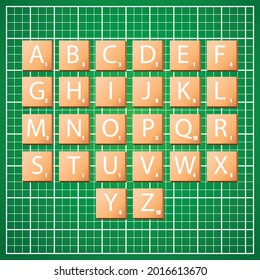 Istanbul, Turkey - July, 2021: Complete Alphabet uppercase in scrabble letters. Isolate vector illustration in wooden boxes over green background