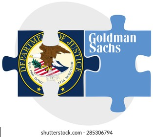 ISTANBUL, TURKEY - JUNE 08, 2015: United States Department of Justice Seal and The Goldman Sachs Group, Inc. logotype in puzzle form on white background.