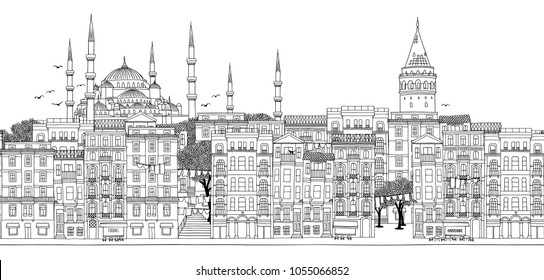 Istanbul, Turkey - Seamless banner of the city's skyline, hand drawn black and white illustration