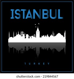 Istanbul Turkey, skyline silhouette vector design on black background.