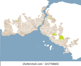 Istanbul (Turkey) street network vector map