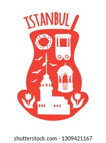 Istanbul, Turkey. Travel illustration of famous turkish symbols: Maiden tower, the fountain, bagel vendor, simit, tulips, seagull. Doodle landmarks in a silhouette of a traditional tea glass.