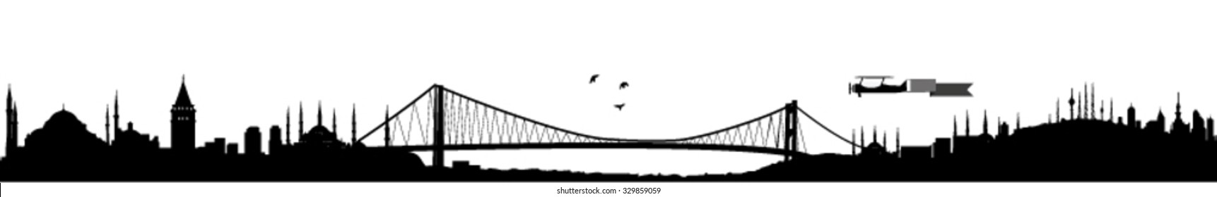 Istanbul two continents meets skyline silhouette vector, black and white design