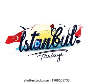 istanbul. Vector logo of word Istanbul in black color with tulip symbol on white background for souvenir products, banner or emblem, travel blog or social media.
