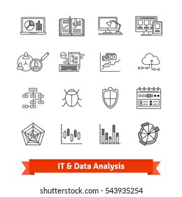 IT, data analysis, programming, web development and cybersecurity icons thin line set. Linear style illustrations isolated on white.