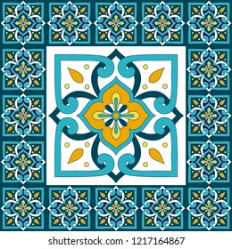 Italain tile pattern floor vector with vintage mosaic print. Big element in center is framed. Background with portuguese azulejos, mexican talavera, italy sicily majolica, spanish ceramic motifs.