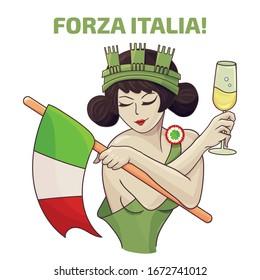 """Italia Turrita as the national symbol of Italy. Text in Italian """"Forward Italy""""."""