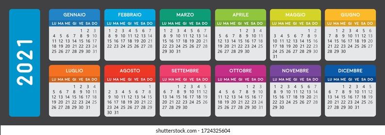 italian 2021 calendar. Horizontal italian calendar template.