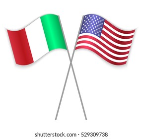 Italian and American crossed flags. Italy combined with United States of America isolated on white. Language learning, international business or travel concept.