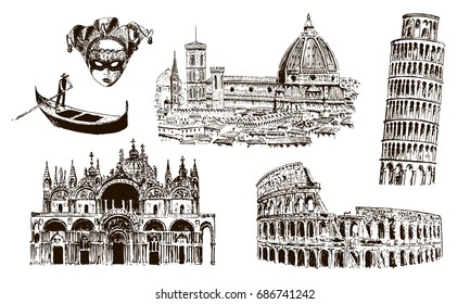 Italian architectural symbols: Coliseum, Duomo Santa maria del fiore, pisan tower, Basilica di San Marco, gondola, carnaval mask. . vector sketch illustration. For prints, , advertising, City scape