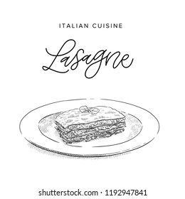 italian beef pasta lasagne on a plate, sketch style vector illustration