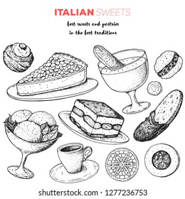 Italian breakfast sketch. Italian dessert vector illustration. Baking collection Vintage design template. Tiramisu, gelato, torta della nonna, zabaglione, biscotti, zeppole, sfinci illustration
