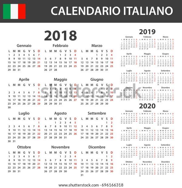 Calendario Di Agosto 2020.Immagine Vettoriale Stock 696166318 A Tema Italian Calendar