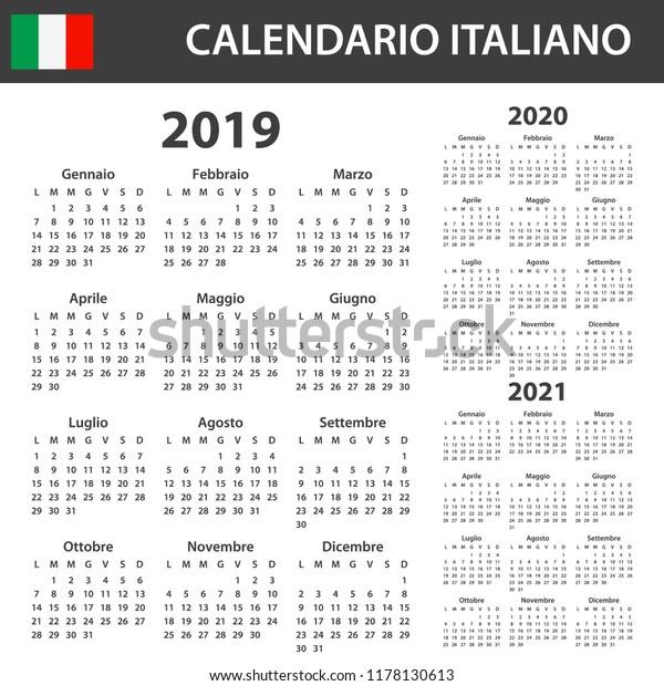 Calendario 2020 Con Foto Gratis.Italian Calendar 2019 2020 2021 Scheduler Stock Vector